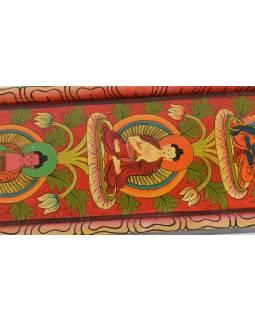 Dřevěný panel, Pět Dhjánibuddhů, ručně malované, 92x20cm