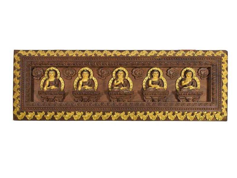 Dřevěný panel, Pět Dhjánibuddhů, ručně vyřezávaný, zlacený, 73x25cm