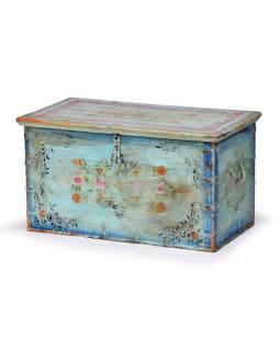 Dřevěná truhla z teaku, ručně malovaná,  78x44x42cm