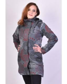 Šedý dámský kabát s kapucí zapínaný na zip, barevný mandala potisk, kapsy