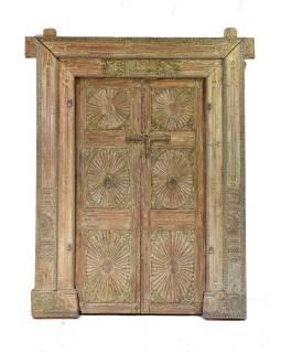 Antik dveře s rámem z Gujaratu, teakové dřevo, malované, 175x50x220cm