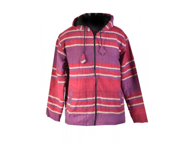 Pánská vínová pruhovaná bunda s kapucí, zapínání na zip a kapsy