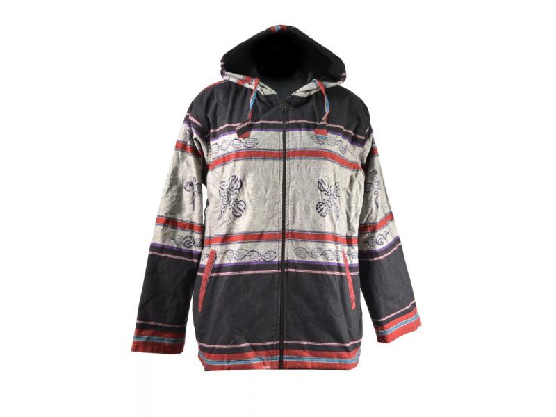 Pánská černo-šedá bunda s kapucí zapínaná na zip, potisk dorje