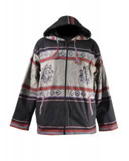 Pánská černo-šedá bunda s kapucí zapínaná na zip, potisk slunce