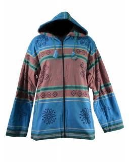 Pánská modro-hnědá bunda s kapucí zapínaná na zip, potisk dorje