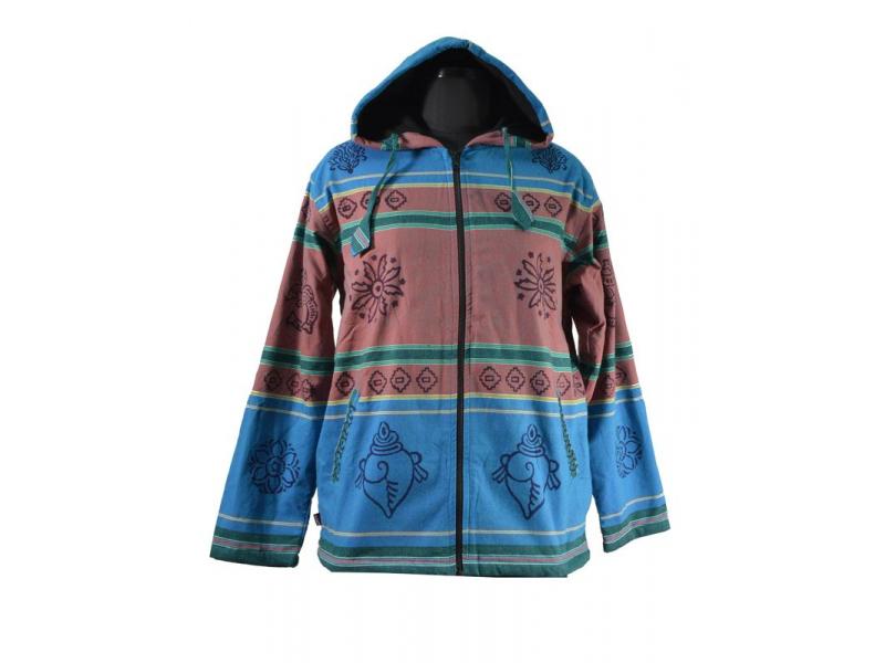Pánská modro-hnědá bunda s kapucí zapínaná na zip, potisk květina