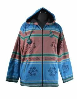 Pánská modro-hnědá bunda s kapucí zapínaná na zip, potisk mušle