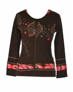 """Černo-růžová mikina s kapucí zapínaná na zip, """"Butterfly design"""", kapsy"""