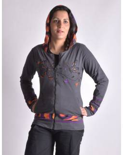 """Šedo-oranžová mikina s kapucí zapínaná na zip, """"Butterfly design"""", kapsy"""