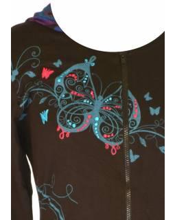 """Černo-tyrkysová mikina s kapucí zapínaná na zip, """"Butterfly design"""", kapsy"""