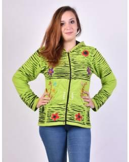 Limetkově zelená mikina s kapucí a prostřihy, zapínání na zip, kapsy, květiny
