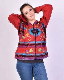 Červená mikina s kapucí a prostřihy, zapínání na zip, kapsy, květinový design