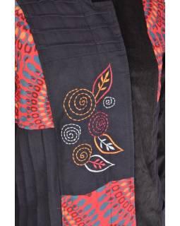 Černo červený manžestrový kabátek, Mandala tisk a výšivka, zapínání na zip