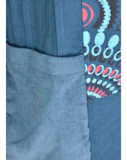 Petrolejový manžestrový kabátek, Mandala tisk a výšivka, zapínání na zip