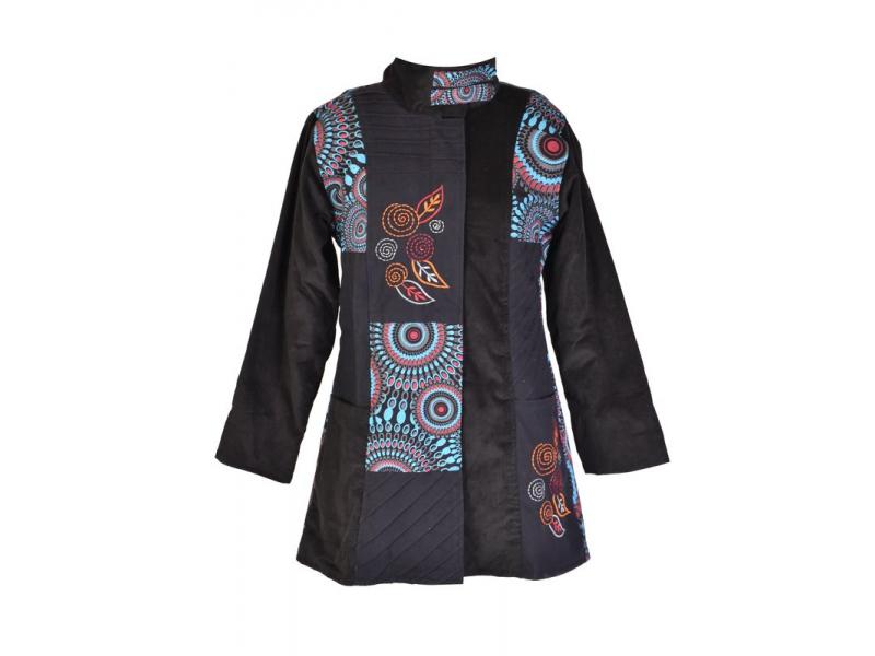 Černo-modrý manžestrový kabátek, Mandala tisk a výšivka, zapínání na zip