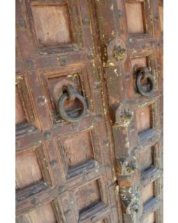 Antik dveře s rámem z Gujaratu, teakové dřevo, malované, 135x50x235cm