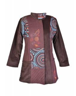 Hnědý manžestrový kabátek, Mandala tisk a výšivka, zapínání na zip