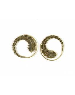 Postříbřené visací náušnice, motiv peří, zlatý kov