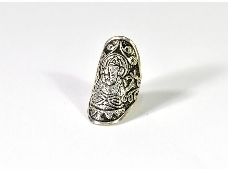 Velký prsten Ganéša, postříbřený (10µm)
