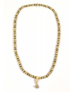 Modlitební korálky - mala, kostěná, průměr korálku 8mm, 108 korálků, bílá, 30cm