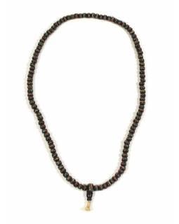 Modlitební korálky - mala, kostěná, průměr korálku 8mm, 108 korálků, černá, 30cm