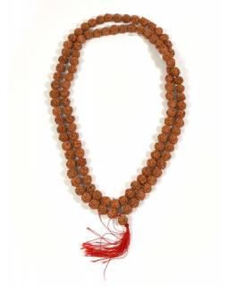 Mala Rudraksha, 108 korálků, průměr 12mm, délka 60cm