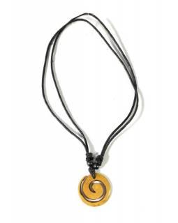 Kostěný náhrdelník na šňůrce s kulatým přívěskem spirála, 3cm