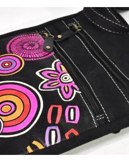 """Kabelka, ,,Crackers"""", černo-růžová, kůže a bavlna, 23x26cm"""