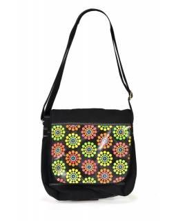 """Kabelka, ,,Dots flower"""", černá, kůže a bavlna, 30x30cm"""