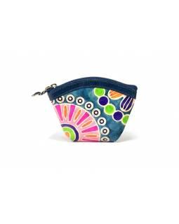 """Kožená peněženka na drobné, """"Heena"""", tyrkysová, ručně malovaná, 12x8 cm"""