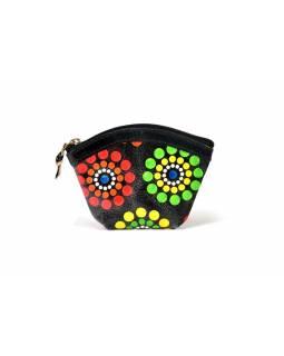"""Kožená peněženka na drobné, """"Dots flower"""", černá, ručně malovaná, 12x8 cm"""