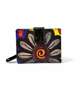 "Kožená peněženka ""margreta flowers"", černá, 12x10cm"