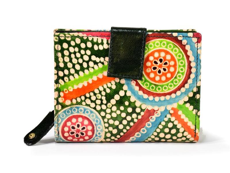 """Kožená peněženka """"Aboriginal"""", zelená, ručně malovaná, 12x10cm"""