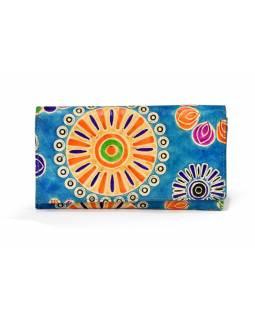 """Velká kožená peněženka """"Heena"""", tyrkysová, ručně malovaná, 18x10cm"""