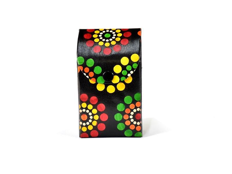 """Kožené pouzdro na cigarety, design ,,Dots flowers"""", černá, 7x11cm"""