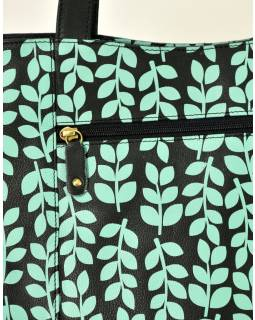 """Kožená kabelka ,,Stem leaves"""", černo-tyrkysová, 40x30cm"""