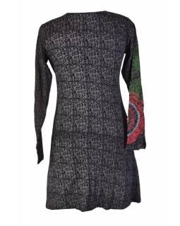 Černé šaty s dlouhým rukávem, šedý celotisk, barevná mandala, V výstřih