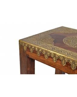 Stolička s mosazným kováním, indický palisandr, 35x28x37cm