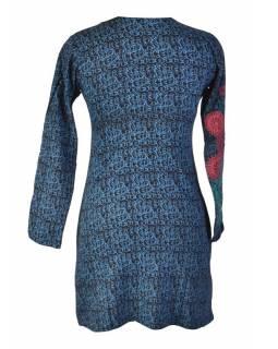Černé šaty s dlouhým rukávem, modrý celotisk, barevná mandala, V výstřih