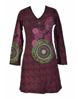 Černé šaty s dlouhým rukávem, vínový celotisk, barevná mandala, V výstřih