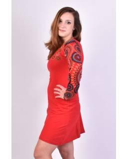 Červené šaty s dlouhým rukávem, Sun design, kulatý výstřih, potisk a výšivka