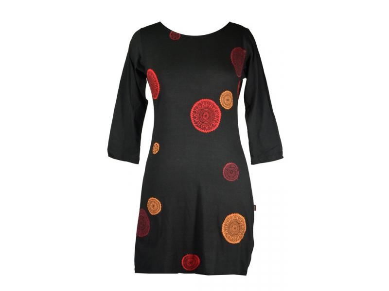 Krátké černé šaty s tříčtvrtečním rukávem 5ebaba94ad