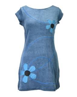 Krátké sametové šedé šaty krátkým rukávem, aplikace barevné květiny
