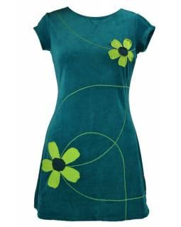 Krátké sametové petrolejové šaty krátkým rukávem, aplikace barevné květiny