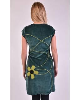 Krátké sametové petrolejové šaty s krátkým rukávem, aplikace barevné květiny
