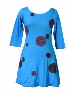 Krátké balonové tyrkysové šaty s tříčtvrtečním rukávem ec24cc0bde