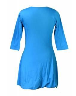Krátké balonové tyrkysové šaty s tříčtvrtečním rukávem, fialové Chakra aplikace