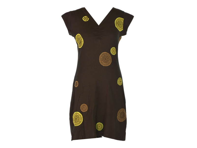 Krátké černé šaty se zelenými aplikacemi Chakra, V výstřih