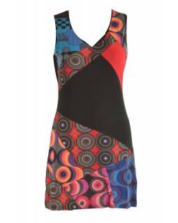 Krátké multibarevné šaty bez rukávu, mix potisků