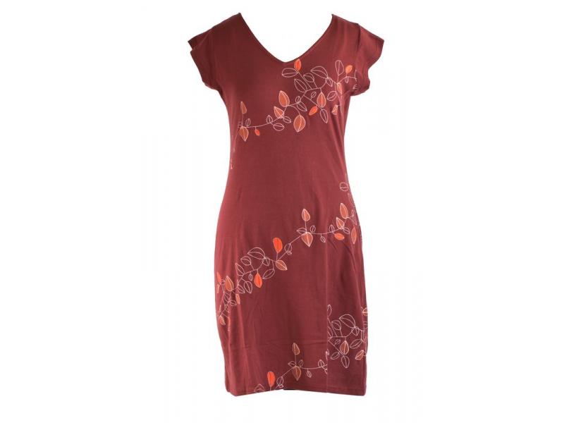 """Krátké vínové šaty s krátkým rukávem a potiskem """"Leaves design"""", V výstřih"""